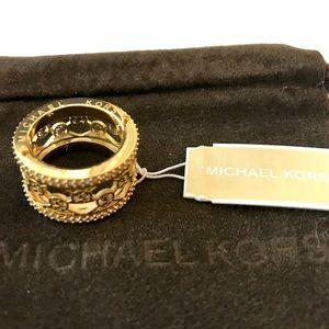 3ec803d290523 NWT Michael Kors Monogram Logo Ring Gold w/ Pouch NWT